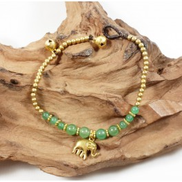 Bracelet Ethnique en laiton et Aventurine - BR095