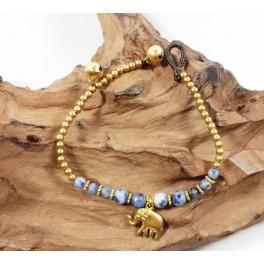 Bracelet Ethnique en laiton et Sodalite- BR096