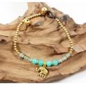 Bracelet Ethnique en laiton et Aigue-Marine - BR097