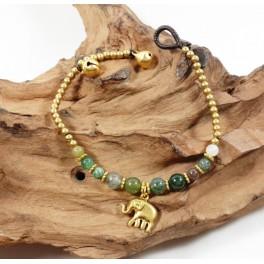 Bracelet Ethnique en laiton et Jaspe - BR098