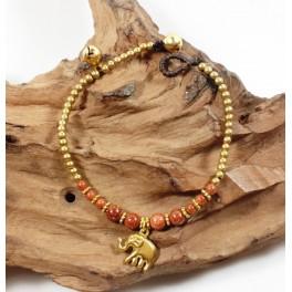 Bracelet Ethnique en laiton et Pierre de Soleil - BR100