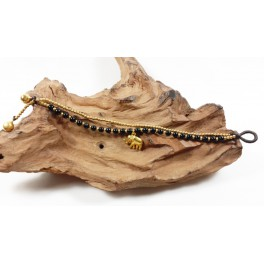 Bracelet Ethnique en laiton et Onyx - BR102