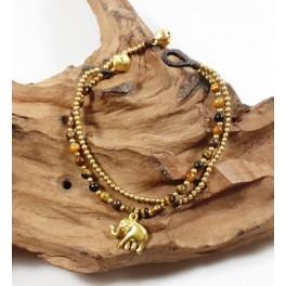 Bracelet Ethnique en laiton et Oeil de Tigre - BR103