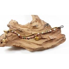 Bracelet Ethnique en laiton et Pierres Multicolores - BR104