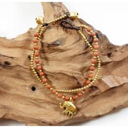 Bracelet Ethnique en laiton et Pierre de Soleil - BR105