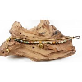 Bracelet Ethnique en laiton et Jaspe - BR106