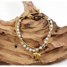 Bracelet Ethnique en laiton et Pierre de Lune - BR107
