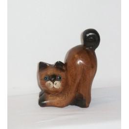 Petit chat sculpté en bois de Suar - N°10
