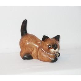 Petit chat sculpté en bois de Suar - N°11