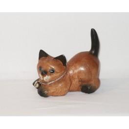 Petit chat sculpté en bois de Suar - N°12