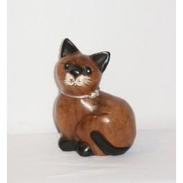 Petit chat sculpté en bois de Suar - N°14