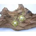 Boucles d'oreilles en Laiton et Howlite - BC027