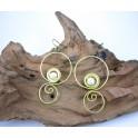 Boucles d'oreilles en Laiton et Howlite - BC028