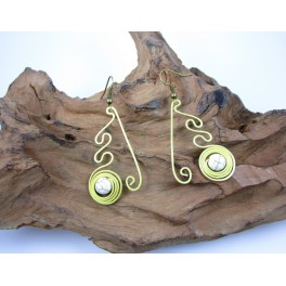Boucles d'oreilles en Laiton et Howlite - BC029