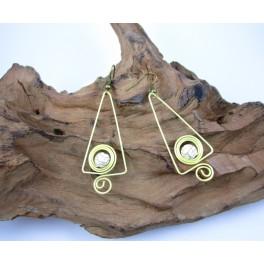Boucles d'oreilles en Laiton et Howlite - BC030