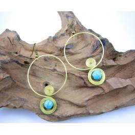 Boucles d'oreilles en Laiton et Howlite Bleu - BC035