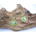 Boucles d'oreilles en Laiton et Howlite Bleu - BC036