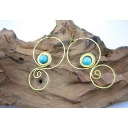 Boucles d'oreilles en Laiton et Howlite Bleu - BC037