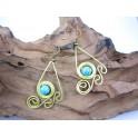 Boucles d'oreilles en Laiton et Howlite Bleu - BC038