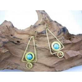 Boucles d'oreilles en Laiton et Howlite Bleu - BC039