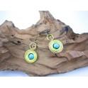 Boucles d'oreilles en Laiton et Howlite Bleu - BC040
