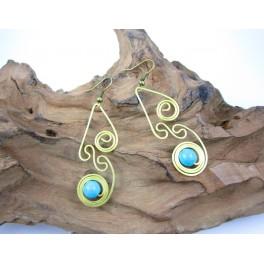 Boucles d'oreilles en Laiton et Howlite Bleu - BC041