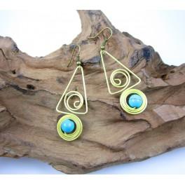 Boucles d'oreilles en Laiton et Howlite Bleu - BC042