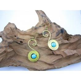 Boucles d'oreilles en Laiton et Howlite Bleu - BC043