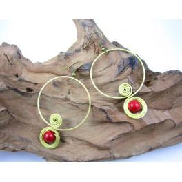 Boucles d'oreilles en Laiton et Howlite Rouge - BC044