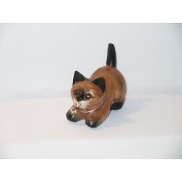 Petit chat sculpté en bois de Suar - N°16