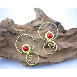Boucles d'oreilles en Laiton et Howlite Rouge - BC046