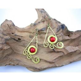 Boucles d'oreilles en Laiton et Howlite Rouge - BC047