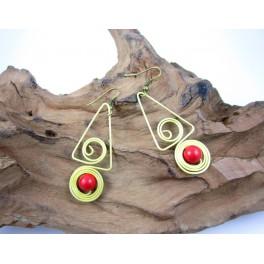 Boucles d'oreilles en Laiton et Howlite Rouge - BC048
