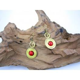 Boucles d'oreilles en Laiton et Howlite Rouge - BC049