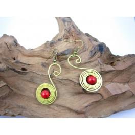 Boucles d'oreilles en Laiton et Howlite Rouge - BC050