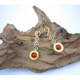 Boucles d'oreilles en Laiton et Howlite Rouge - BC051