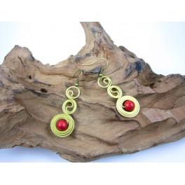 Boucles d'oreilles en Laiton et Howlite Rouge - BC052