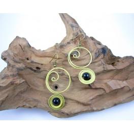Boucles d'oreilles en Laiton et Onyx - BC053