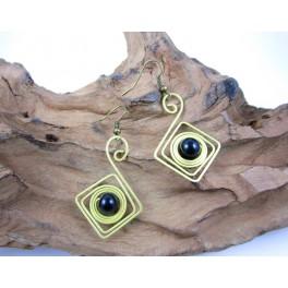 Boucles d'oreilles en Laiton et Onyx - BC054