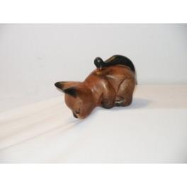 Petit chat sculpté en bois de Suar - N°17