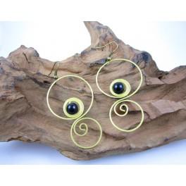 Boucles d'oreilles en Laiton et Onyx - BC055