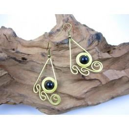 Boucles d'oreilles en Laiton et Onyx - BC056