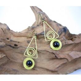 Boucles d'oreilles en Laiton et Onyx - BC057
