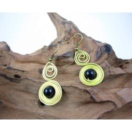 Boucles d'oreilles en Laiton et Onyx - BC058