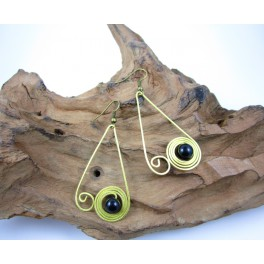 Boucles d'oreilles en Laiton et Onyx - BC059