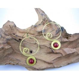 Boucles d'oreilles en Laiton et Pierre Rouge - BC063
