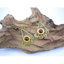 Boucles d'oreilles en Laiton et Pierre Rouge - BC064