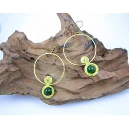 Boucles d'oreilles en Laiton et Aventurine - BC070