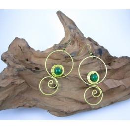 Boucles d'oreilles en Laiton et Aventurine - BC072