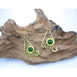 Boucles d'oreilles en Laiton et Aventurine - BC073